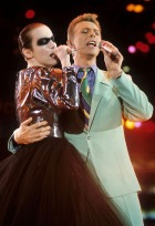 ANNIE UNLEASHED Annie Lennox and David Bowie perform Under Pressure (Photo by Kevin Mazur Archive/WireImage)