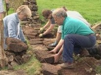 BOTH SIDES NOW Stephen Harrison, master waller, instructing on one of his dry stone walling courses.