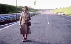 NO SOCIETY LADY Baroness Thatcher on the newly opened M25 Motorway in 1986.