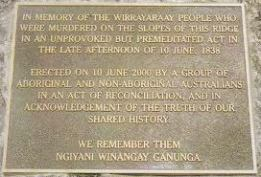 SET IN STONE Plaque at the Myall Creek Massacre memorial.