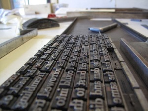 MOVEABLE TYPE A plate of type prepared for print.