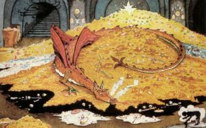 DRAGON VISION Tolkien's own depiction of Bilbo's comversation with Smaug.