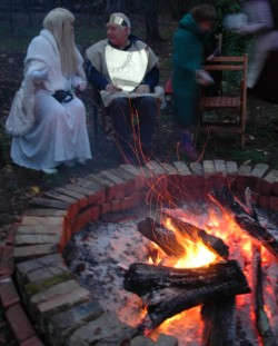 WEDDING PARTY Elves around the fire at our reception.