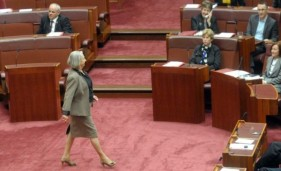SAVVY SENATOR Senator Sue Boyce shows the Senate what an equality conscience looks like.