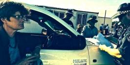 ARRESTING JOURNO Margo Kingston under arrest at the Leard Blockade. (Photo: Georgina Woods).