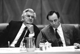 LABORING THE FRIENDSHIP Bob Hawke and Paul Keating, 1991 (Photo: Peter Morris).