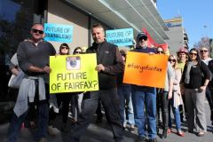 FAIRFAX STRIKE Photographer Kirk Gilmour and union representative Andy Zakeli lead editorial staff striking outside offices of the Illawarra Mercury in Wollongong, May 8, 2014.