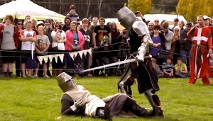 KNIGHT SCHOOL The Ironfest crowds thrill to the sound of mock fighting.