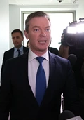 PYNE SURPRISE Christopher Pyne running the media gauntlet after being blindsided by Abbott.