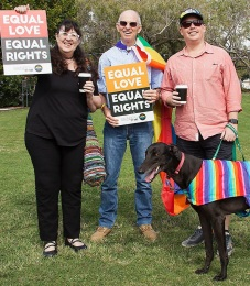 RIGHTS RALLY Marriage equality rally in the Queensland electorate of Bowman, July 2015 (Photo: Carole Margand)