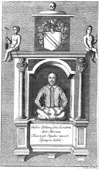 Engraving of William Shakespeare's funerary monument in Stratford from the first volume of Nicholas Rowe's 1709 edition of his works. Gerard Van der Gucht