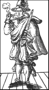 Mary Frith, aka Moll Cutpurse, from the cover of 'The Roaring Girl'