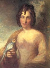 BIRDMAN'S WIFE Elizabeth Gould (1804–1841) holding a Cockatiel (Image: National Library of Australia)